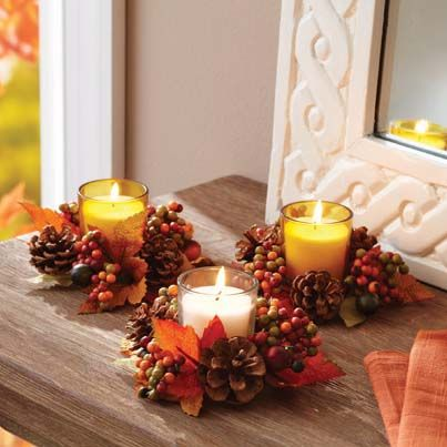 Set the autumn mood with our votive candles - available now at your local Walmart.