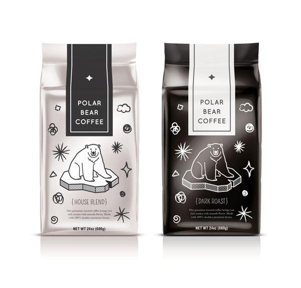 Polar Bear Coffee (Packaging Design) by Nana Nozaki, via Behance Cute #black #white #package #design