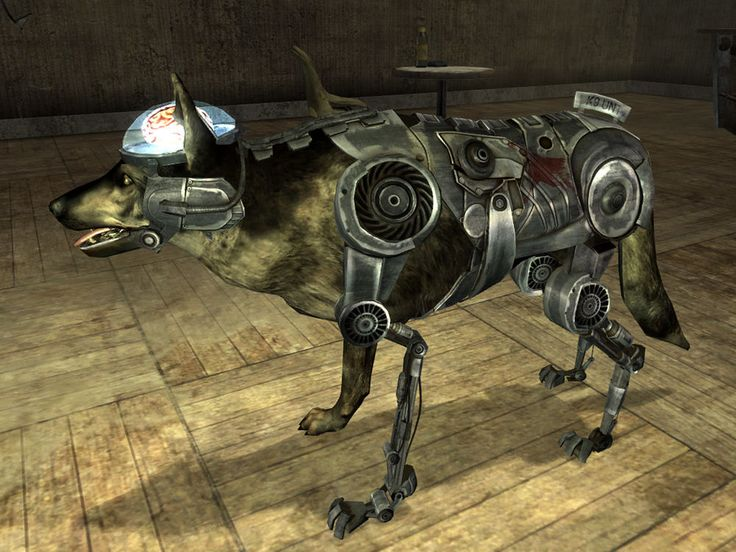 Cyberdogs, also spelled as cyber dogs, are creatures found in Big MT and the Mojave Wasteland. The military cyber dog is immune to the Animal Friend perk, has a sonic bark used as a weapon, and has a chance to knock down the player character with its melee attack. They also appear to have the ability to self heal/repair themselves, similar to the Mk II Securitrons.