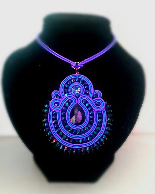 biżuteria soutache, haft koralikowy, torby z filcu: Naszyjnik