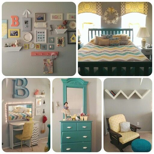 Turquoise yellow and gray bedroom. Brookes room.