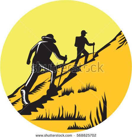 Illustration of hikers with hiking stick hiking up a steep trail set inside circle done in retro woodcut style.  #hiking #woodcut #illustration