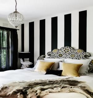 Whether painted or wallpaper, stripes add a powerful decorating punch to bedroom walls. Here are 25 ways to use stripes in your own room.: Black and White Stripes