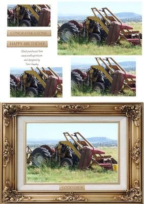 farm 2 on Craftsuprint designed by Terri Hawley - Mostly male card, for farmer, in a easy decoupage style, for bithday, good luck, congratulations - Now available for download!