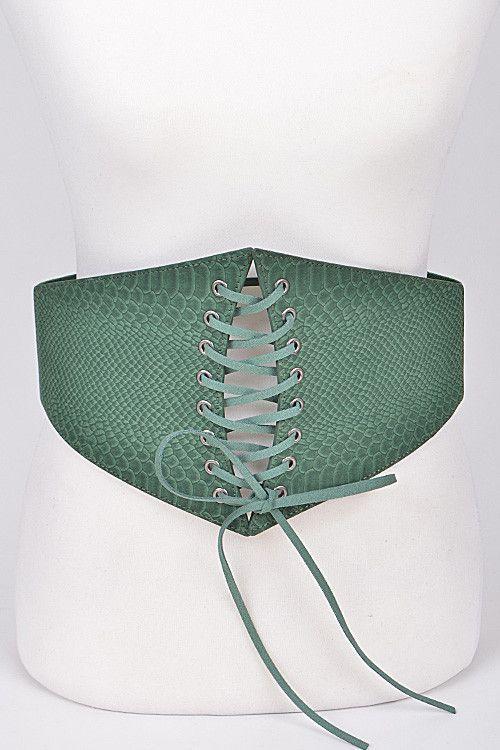 "30"" faux crocodile skin corset lace tie boho stretch belt 7"" wide"