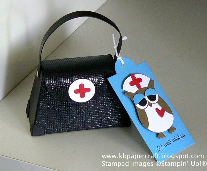 Get Well Wishes.  What a great way to use the petite purse die and the owl builder punch!