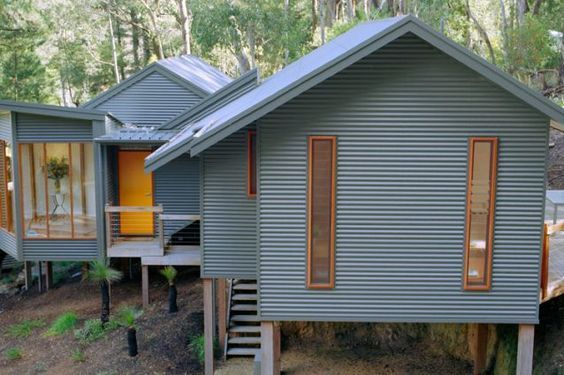 Horizontal corrugated metal siding with contrast trim for Horizontal metal siding