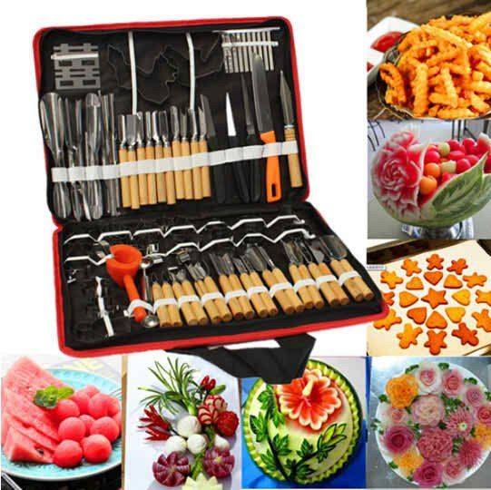 Prime Kitchen (Set Of 80pcs) Professional Vegetable Fruit Carving Tools Kit Set.