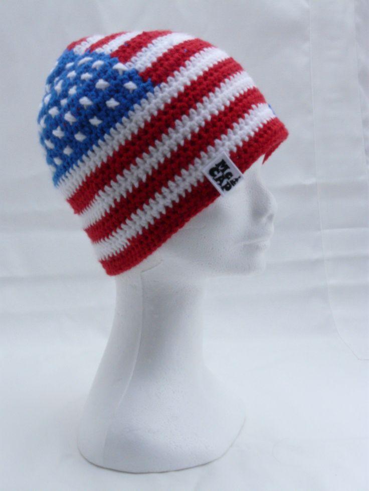 Čepice klasik NY Krásná čepice ve stylu americké vlajky, dělala jsem ji na přání. Háčkovaná. Uháčkuji v jakékoliv veikosti i jiném stylu vlajky. :)