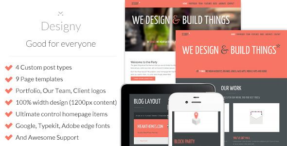Designy: A design led Business WordPress theme for everyone: Portfolio, Marketing, Business, Corporate, Creative, Blog. $40. More at http://www.meanthemes.com/portfolio/designy/themeforest.net/item/designy-a-design-led-business-wordpress-theme/full_screen_preview/4625484?ref=meanthemes . Classic layout allows 4-5 main portfolio categories to be highlighted on home page.