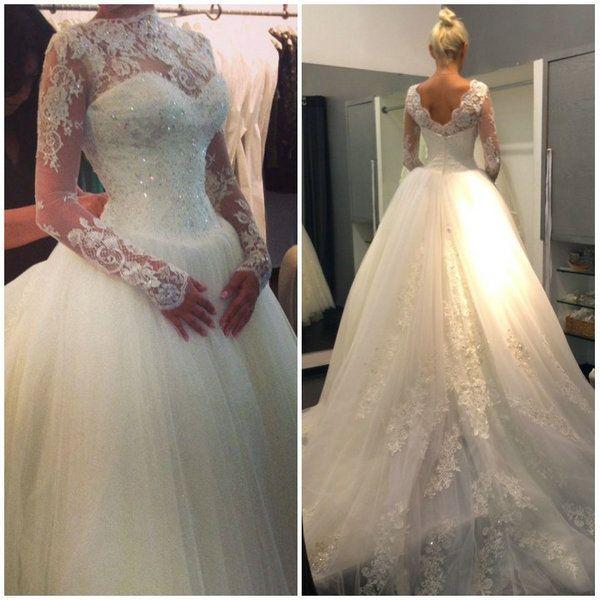 2014 Fashionable High Neck V Shape Backless vestido de noiva princesa Long Sleeve Lace Wedding Dress $199.90