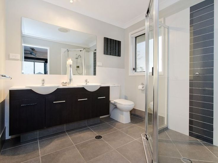 Black Vanity With White Top And Basin Grey Floor Tiles White Wall Tiles