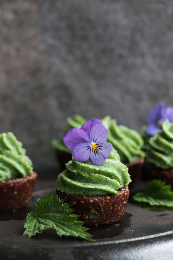 Raw Chocolate Cupcakes with Nettle Frosting (grain-free & vegan)