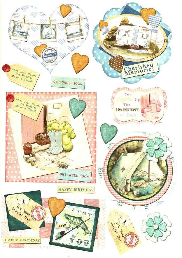 Debbi Moore Designs - Summer Retreat card toppers #9, camping, fishing, gardening