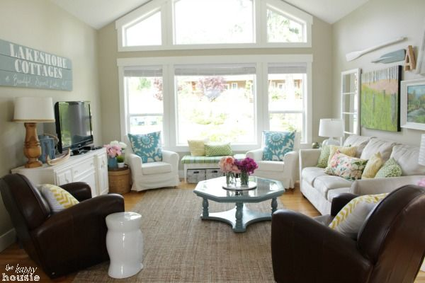 Lake Cottage Style Summer House Tour Living & Dining Room - The Happy Housie