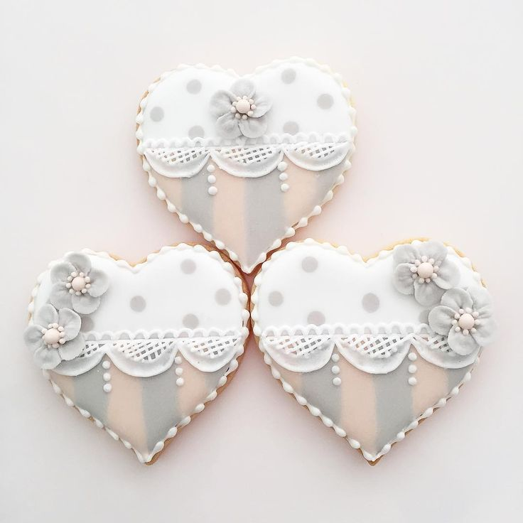 """132 Likes, 11 Comments - @a.p.cookies on Instagram: """"#stripe #pokadot #lace #heart #heartcookies #flowers #sugarflowers #gray #pink #white #icingcookies…"""""""
