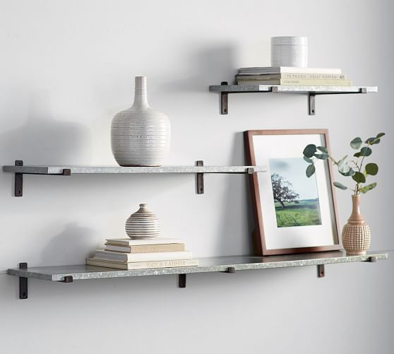 The Menlo Galvanized Shelves from Pottery Barn brings order to every wall. A choice of three sizes and three shelves - wood, metal or glass - mean you can pick the perfect style to fit your home or small space!