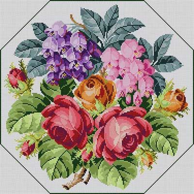 Floral Bouquet Susan Treglown mesh: 13:1 dimension: 14.5 x 14.5