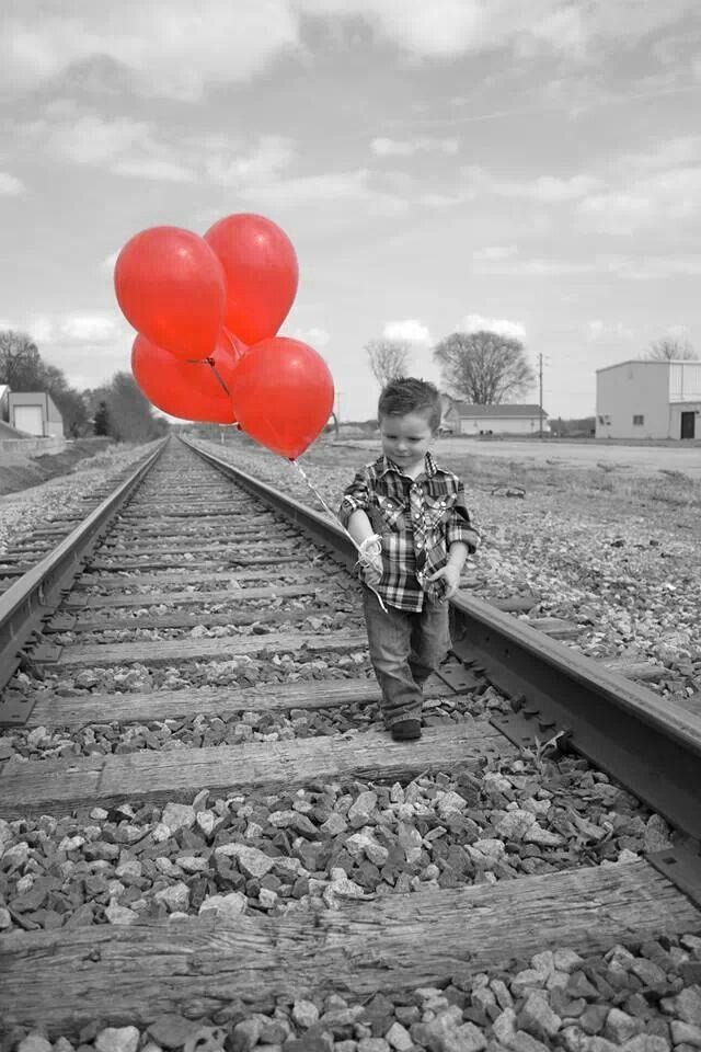 2nd birthday photo shoot. Balloons. Train tracks.