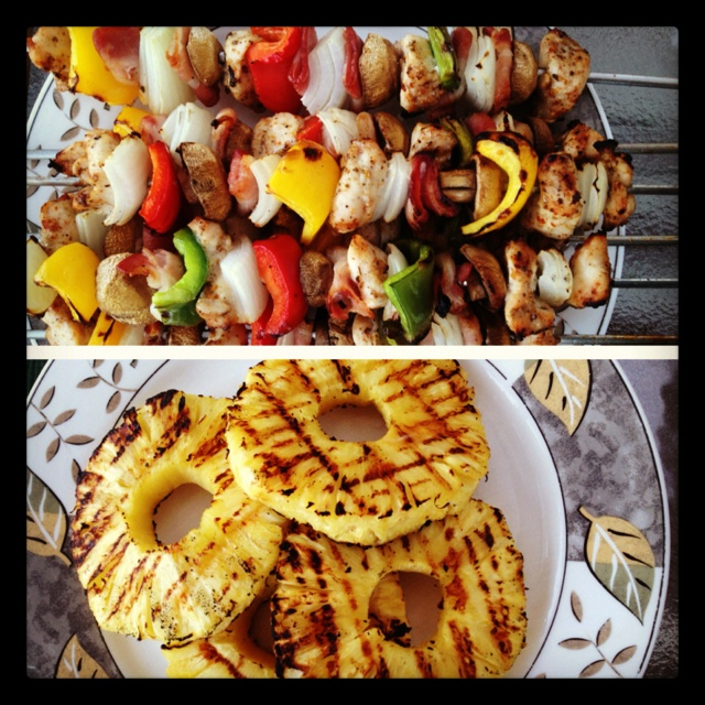 Shish kabobs - marinated chicken; bacon; yellow, red, and green ...