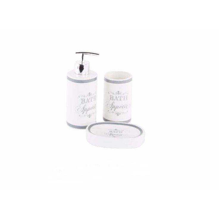 """Set De Jabonera Para Baño:Set de baño cerámica Jabonera, dosificador y vaso – Modelo """"Bath"""