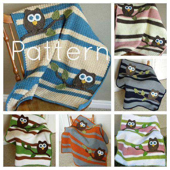 Crochet Blanket w/ Owls - Etsy Pattern $10.00