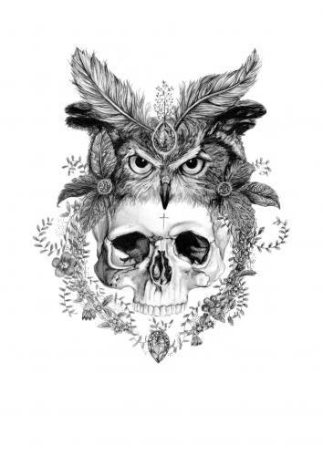 Skull Headdress   Skull Owl Headdress Flowers