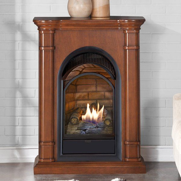 The Duluth Forge compact fireplace with mantel features quality wood mantel with a delicately arched gas fireplace insert that provides a classic touch for your home. This fireplace produces 15,000 BTU, enough to heat 800 square feet of living space. It is perfect for small dens and areas to minimize the waste of space, while maximizing its function and purpose. This classic piece of furniture provides flawless flames and realistic ceramic fiber logs.