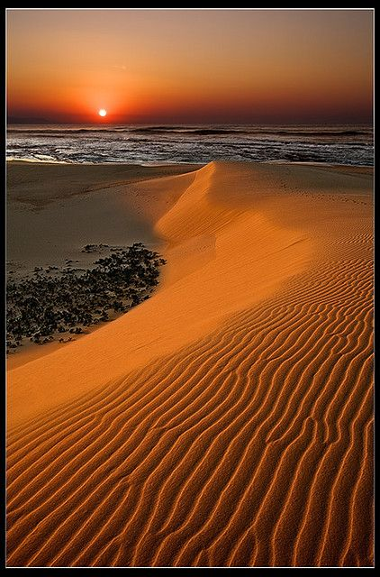 Sunrise over a sand dune at Christmas Rock in the Eastern Cape of South Africa
