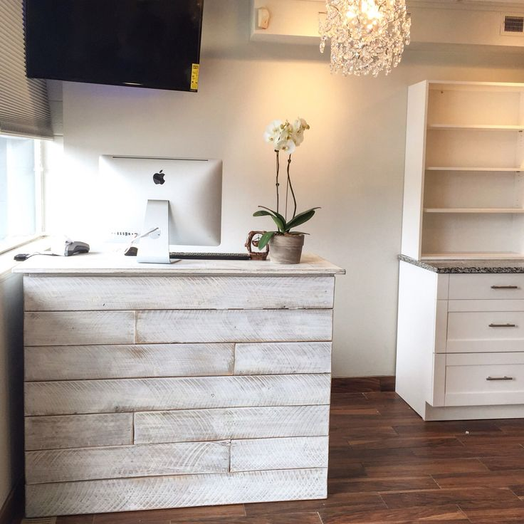 Anna - White washed/distressed cash wrap reception desk by oursolecreations on Etsy https://www.etsy.com/listing/511082123/anna-white-washeddistressed-cash-wrap