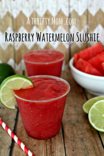 so yummy and perfect for summer! Raspberry Watermelon Slushie recipe