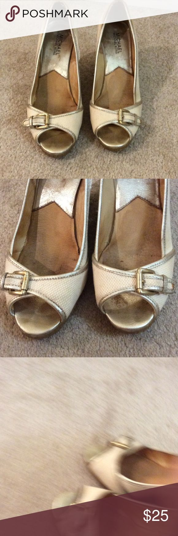 Gold , Silver and Cream Wedges These show wear, there is some fraying around top seams and a spot on the one buckle tab, they still look good if you aren't looking real close. Price reflects wear. MICHAEL Michael Kors Shoes Wedges