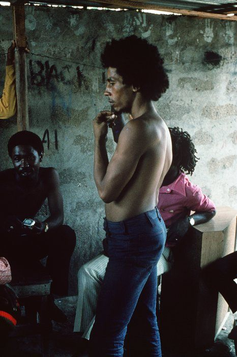 BOB MARLEY in Trenchtown, Kingston, '73 © Adrian Boot