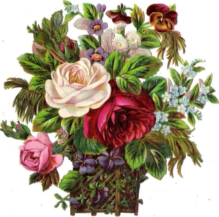 Oblaten Glanzbild scrap die cut chromo Blumen Korb 13cm flower basket fleur rose: