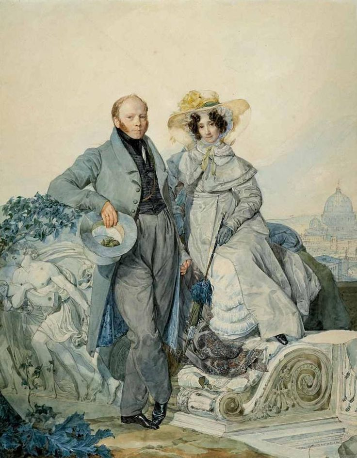 Karl Brulloff. Portrait of G. N. and V. A. Olenin. 1827. Watercolor on paper. The Tretyakov Gallery, Moscow, Russia 1827