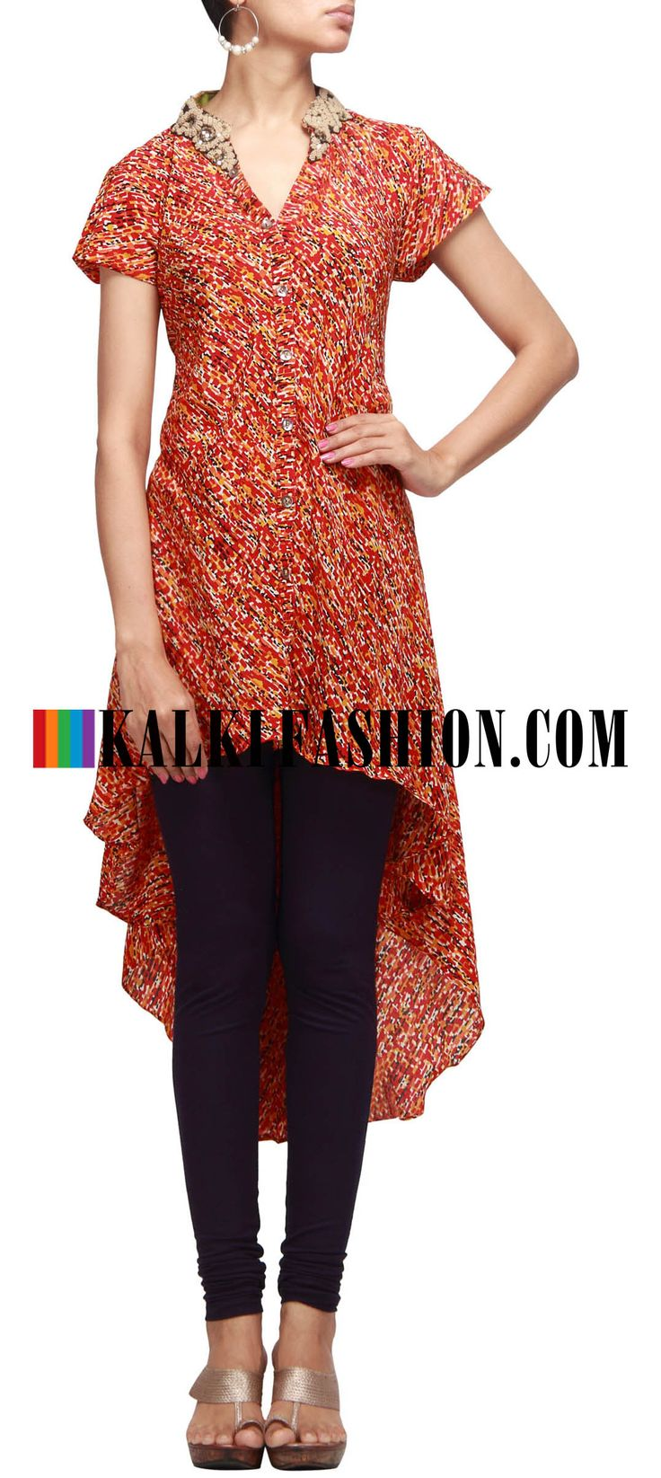 Buy Online from the link below. We ship worldwide (Free Shipping over US$100) http://www.kalkifashion.com/printed-tail-cut-kurti-with-embroidered-collar.html Printed tail cut kurti with embroidered collar