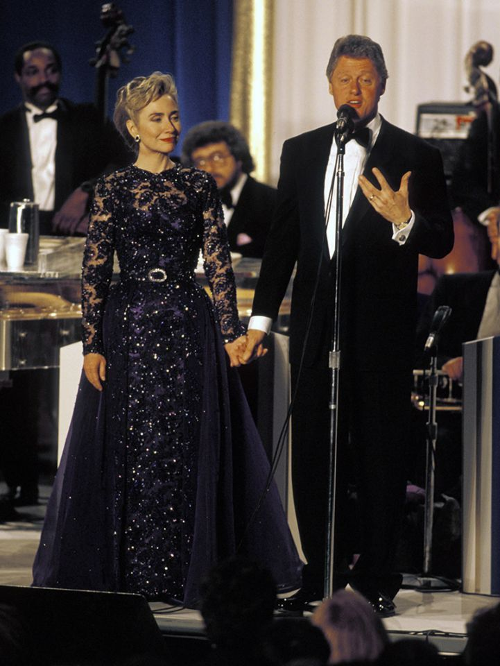 For her husband's first inauguration in 1993, had a midnight blue dress with embroidery designed for her by Sarah Phillips and made by Barbara Matera Ltd., a New York theatrical costume maker. (Photo: Rick Friedman/Corbis via Getty Images)