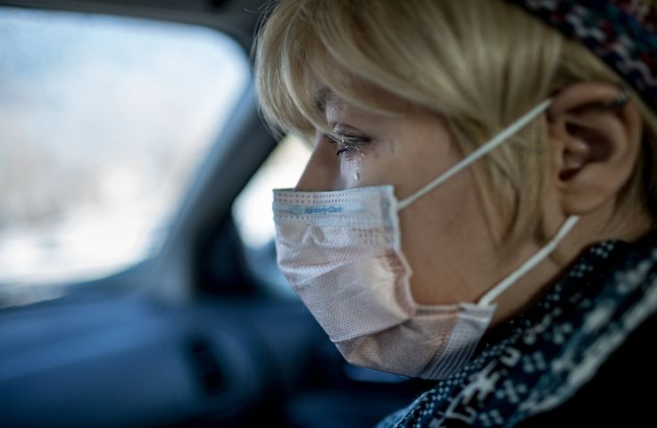 Ms. Koch on her way to have blood drawn. - Michael Kirby Smith for The New York Times