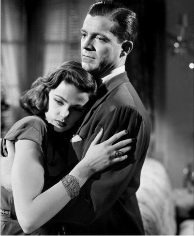 "Laura and Mark embrace - Dana Andrews With Gene Tierney in ""Laura"" (1944) -"