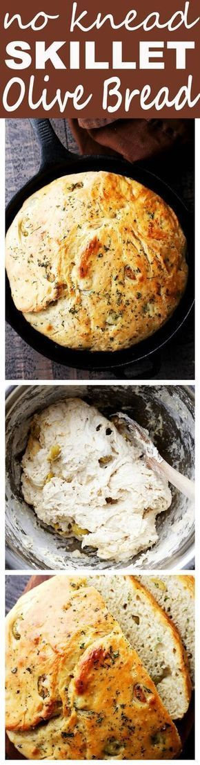 No Knead Skillet Olive Bread - Very easy to make, no-knead, crusty and delicious bread packed with marinated olives and garlic.