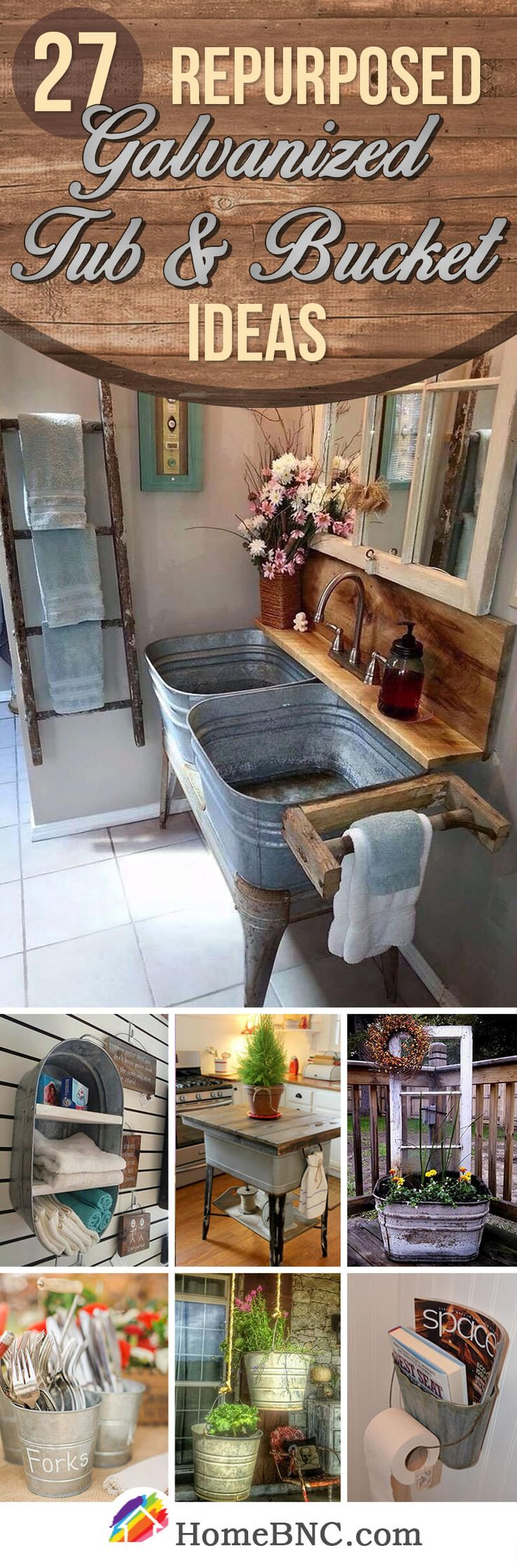 Reused and Repurposed Galvanized Tub and Bucket Decor Ideas