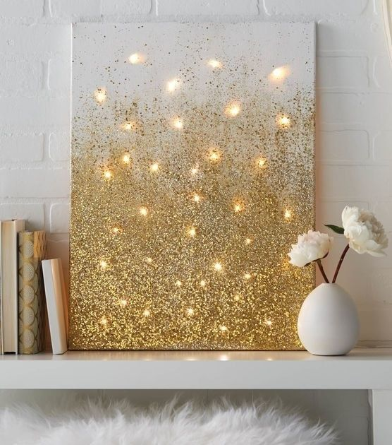 Cast a warm glow over your dorm room or apartment with an ombré glitter canvas. | 34 Sparkly DIY Ideas For Anyone Whose Favorite Color Is Glitter