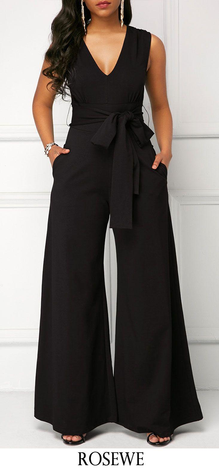 7f7ed31ccfb Black Belted V Neck Sleeveless Jumpsuit. Rosewe jumpsuits womensfashion