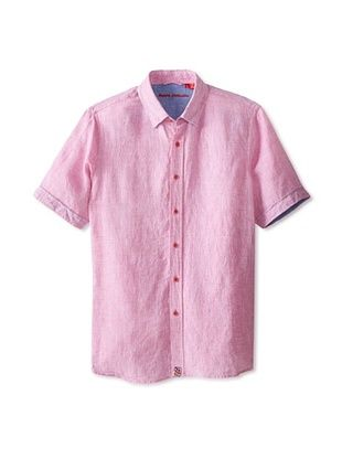 60% OFF Report Collection Men's Short Sleeve Solid Linen Woven Shirt (Pink)