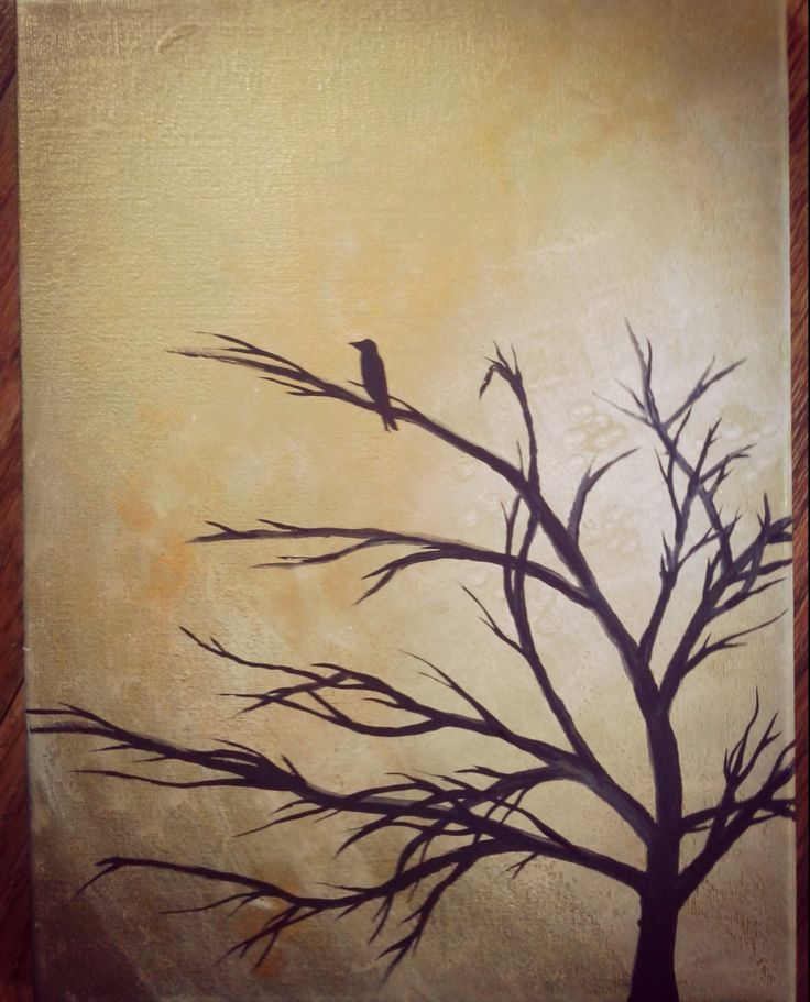 """""""Lone Raven"""" acrylic on 9x12"""" canvas. Gold background. 🌻"""