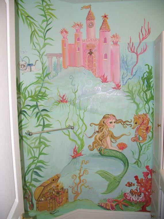 Mermaid painting, Mermaid wall Art, Custom Murals, under the sea,  fish art