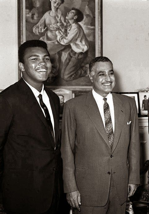 """A rare picture of the late president, """"Gamal Abdel Nasser"""" with the world boxer Muhammad Ali Office of the President Gamal Abdel Nasser in Cairo in the early sixties."""