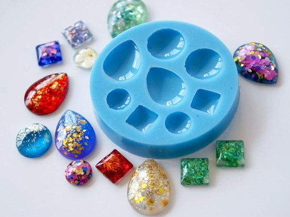 Silicone mold (<b>8 pcs</b> )- Round square drop lens resin mold for ...