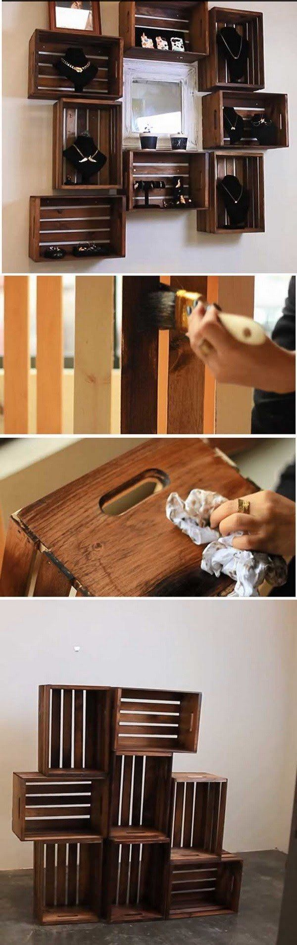 DIY Wooden Crate Shelves. An ideal way to upcycle old materials into new, useful…  – Organize