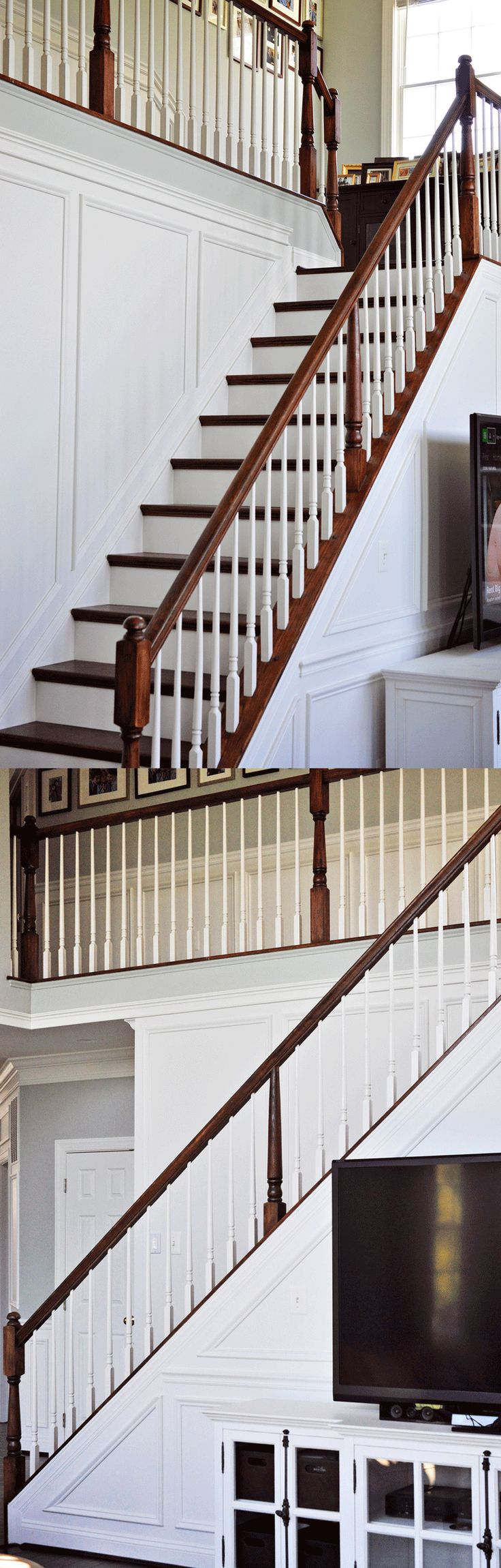 Use shadow box wainscoting to add interest to those tricky angled stair walls. This is a DIY job!
